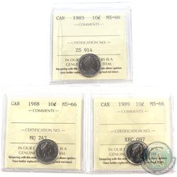 1983,1988 & 1989 Canada 10-cent ICCS Certified MS-66. 3pcs