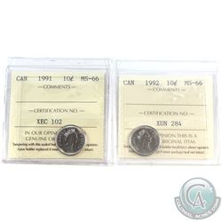 1991 & 1992 Canada 10-cent ICCS Certified MS-66. 2pcs
