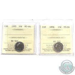1995 & 1998 Canada 10-cent ICCS certified MS-66. 2pcs