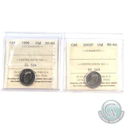 1999 & 2002P Canada 10-cent ICCS Certified MS-66. 2pcs