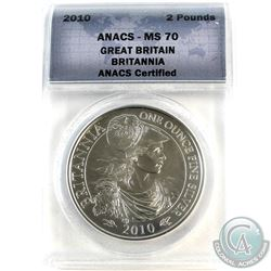 2010 Great Britain 2-Pound Britannia ANACS Certified MS-70 (Tax Exempt)