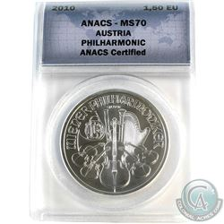 2010 Austria 1,5 Euro Philharmonic ANACS Certified MS-70 (Tax Exempt)