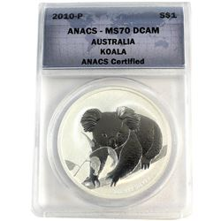 2010-P Australia $1 Koala ANACS Certified MS-70 DCAM (Tax Exempt)