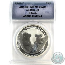 2011-P Australia $1 Koala ANACS Certified MS-70 DCAM (Tax Exempt)