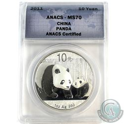 2011 China 10 Yuan Panda ANACS Certified MS-70 (Tax Exempt)