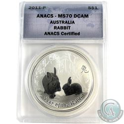 2011-P Australia $1 Rabbit ANACS Certified MS-70 DCAM (Tax Exempt)