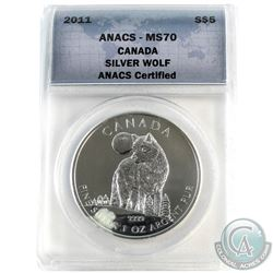 2011 Canada $5 Silver Wolf ANACS Certified MS-70 (Tax Exempt)