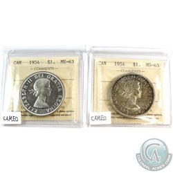 2x 1954 Canada Silver $1 ICCS Certified MS-63.Cameo. 2pcs.