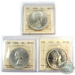 3x 1954 Canada Silver $1 ICCS Certified MS-63. 3pcs.