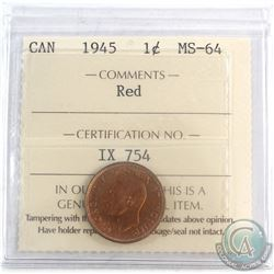 1945 Canada 1-cent ICCS Certified MS-64 Red.