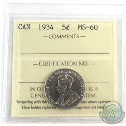 1934 Canada 5-cent ICCS Certified MS-60.
