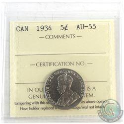 1934 Canada 5-cent ICCS Certified AU-55.