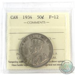 1934 Canada 50-cent ICCS Certified F-12.