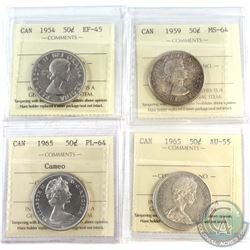 1954-1965 Canada 50-cent ICCS Certified Collection. You will receive the following, 1954 EF-45, 1959