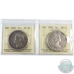 1950 Canada Silver $1 SWL ICCS Certified AU-58 & 1957 Canada Silver $1 1WL ICCS Certified MS-62. 2pc