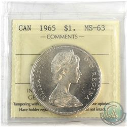 1965 Canada Silver $1 Type V ICCS Certified MS-63.