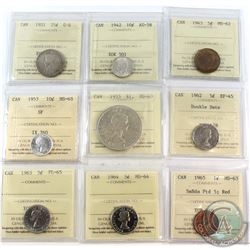 1921-1965 Canada ICCS Certified Coin Collection. You will receive the following, 1921 25-cent G-6, 1