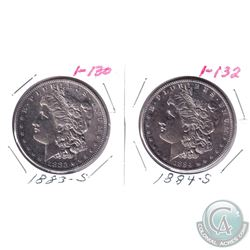 1883s & 1884s United States Silver Dollars. 2pcs.