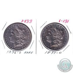1896D & 1897o United States Silver Dollars. 2pcs.