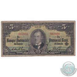 1936 $5 PC-4a Provincial Bank of Canada , Montreal Note, Serial# C/092986, VG.