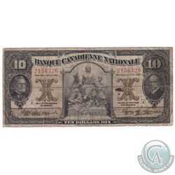 1925 Banque Canadienne Nationale $10. 85-10-02, S/N: A2156326, VG.