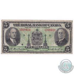 1935 Royal Bank of Canada $5, Serial: D/1229410, Fine.