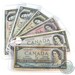 1954 Canada $5, $10, $20, $100 Banknote Collection. You will receive 2x $5 Notes with B/X & H/X Pref