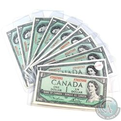 10x 1954 Canada $1 Banknote Collection with 8 Different Prefixes.  10pcs.