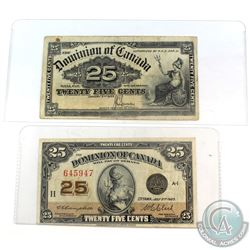 1900 Dominion of Canada 25ct Saunders Note & 1923 Dominion of Canada 25ct Campbell-Clark Note.  2pcs