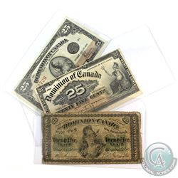 1870-1923 Dominion of Canada 25ct Banknote Collection. You will receive the following, 1870 Dickinso