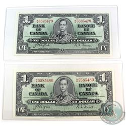 Consecutive 1937 Bank of Canada $1 Coyne-Towers, W/M5585479/80. UNC+ Condition. 2pcs.