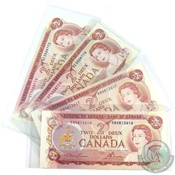 Consecutive 1974 Bank of Canada $2 Lawson-Bouey, R/N4812616/17 & B/E3508774/75. UNC+ Condition.  4pc