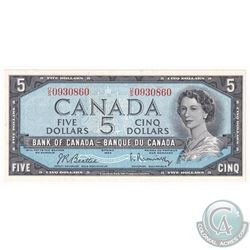 1954 Bank of Canada $5 Beattie-Rasminsky, U/S0930860 AU-UNC.