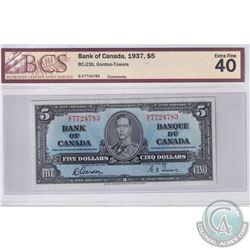BC-23b 1937 Bank of Canada $5 Gordon-Towers, S/C Prefix, 7724783. BCS Certified EF-40.