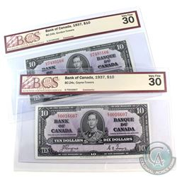 Pair of 1937 Bank of Canada $10 BCS Certified VF-30 Banknotes. You will receive a BC-24b, Gordon-Tow