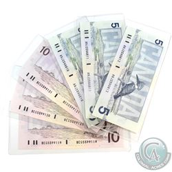 Lot of Consecutive 1986 Bank of Canada $5 Notes & 1989 Bank of Canada $10 Notes.  You will receive t