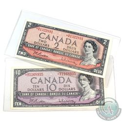 1954 Bank of Canada $2 & $10 Replacement Note Set.  You will receive a 1954 $2 Beattie-Rasminsky *B/