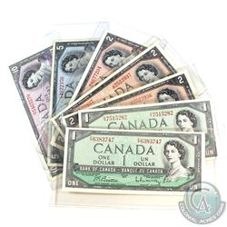 Lot of 1954 Bank of Canada $1, $2, $5, $10 Banknote Collection.  You will receive 2x $1, 3x $2, 1x $