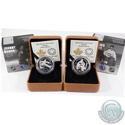2015 Canada $10 NHL Goalies - Johnny Bower & Jacques Plante Fine Silver Coins. 2pcs (TAX Exempt)