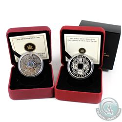 2007 Canada $8 Fine Silver Chinese Square Hole Coin & 2010 Canada $8 Maple of Strength Sterling Silv