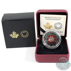 2014 Canada $25 Christmas Ornament Fine Silver Coin (Sleeve is bent) (TAX Exempt)