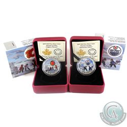 2017 Canada $10 Passion to Play - Calgary Flames & Edmonton Oilers Fine Silver Coins (Tax Exempt) Wr