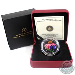 2013 Canada $20 Purple Coneflower & Eastern Tailed Blue Butterfly Fine Silver Coin (Tax Exempt)