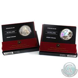 2006 Canada $30 Canadarm & 2007 Canada $30 Vimy Ridge Sterling Silver Coins. 2pcs.