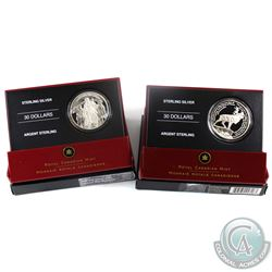 2006 Canada $30  National War Memorial & Beaumont-Hamel (Worn Box) Sterling Silver Coins.  2pcs.