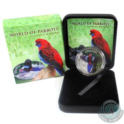 2014 Cook Islands $5 3D World Of Parrots- Crimson Rosella Sterling Silver Coin.