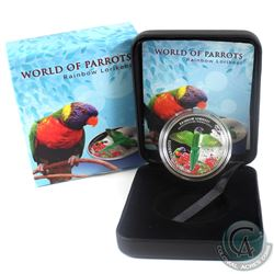 2015 Cook Islands $5 3D World Of Parrots- Rainbow Lorikeet Sterling Silver Coin.