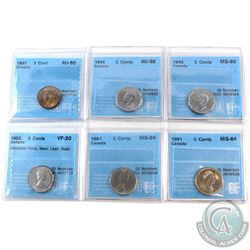 1937-1991 Canada 1-cent & 5-cent CCCS Certified Collection.  You will receive a 1937 1-cent AU-50, 1