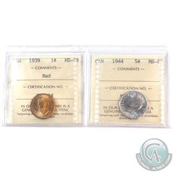 1939 Canada 1-cent MS-65 Red & 1944 Canada 5-cent MS-65.  Both coins have been certified by ICCS. 2p