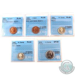 1965-1979 Canada CCCS Certified Coin Collection. You will receive the following, 1965  1-cent SmBds